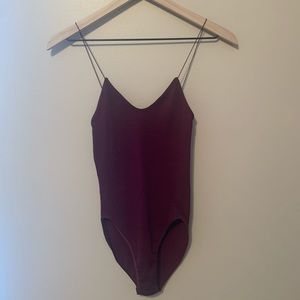 Urban Outfitters Maroon Ribbed Tank Bodysuit